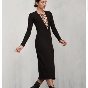 Reformation The Edison lace up ribbed knit dress